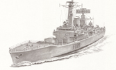 Pencil drawing of HMS Leander